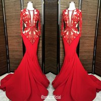 Wholesale 2016 Illusion Red Carpet Evening Dresses Applique Beaded Mermaid Dresses Sweep Train Long Sleeve Pageant Gowns