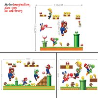 Wholesale Wall Stickers Vintage Decor Toy Super Mario Cartoon Removable Art Stickers Wall Decals Nursery Home Kids Bedroom Decoration