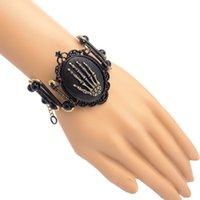 alchemy goth - Uelegant New Design Alchemy Skull Palm Bracelet Ribbon Romance Death Goth Steampunk Party Bracelets for Women