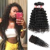 Wholesale Brazilian Virgin Human Hair Weave Deep Wave Bundles With Closure Malaysian Indian Peruvian Deep Curly Weave Human Hair Lace Closure