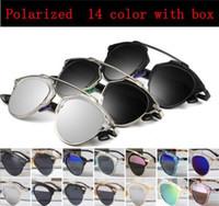 al por mayor los hombres gafas de sol polarizadas originales-SO REAL Mujer marca diseñador cosecha gafas de sol revo espejo pintura Lentes polarizadas gato Oculos Dersal Hombres Femeninos y Original caja