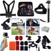 aluminum belt - Gopro Accessories Set Helmet Harness Chest Belt Head Mount Strap Monopod Go pro hero3 Hero session xiaomi yi SJ4000 SJ7000