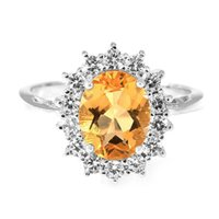 Cheap ine Jewelry Rings Princess Diana 1.5ct Natural Citrine Gemstone Ring Pure Solid Genuine 925 Sterling Silver 2015 Brand New Gift For Women...