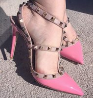 b adornment - New Best Selling Brand Sandal Bright Color Pointed Toe Rivets Adornment Sexy Women Pumps