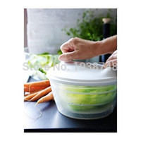 Wholesale 1 piece plastic and rubber white color salad spinner