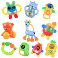 Wholesale 10pcs Baby Rattles Mobiles teether noise maker can bite shake na harm to baby gift package present for kids