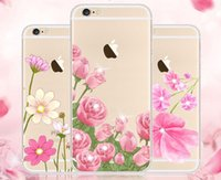 apple silica gels - Cell Phone Case For iphone s Silica gel Resin Transparent Soft TPU Mobile Phone Cover For iphone s plus plus Cases Flowers