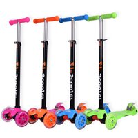 Wholesale Children kick scooters foldable Can lift Flash wheel Kids Scooter Colors Mixed delivery