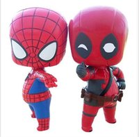 Wholesale Q version spider man deadpool model doll toys cartoon action figures toy anime figures toys for kids cm mini figure doll children gifts