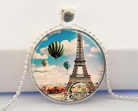 balloon travel - Eiffel Tower Necklace Hot Air Balloons Paris France French Travel Art Pendant necklace