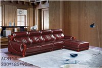 Wholesale GENIUINE LEATHER SOFA RED FASION MODERM NOBLE STYLE LIVING ROOM SIMPLE FURNITURE GOOD QUALITY R AC811