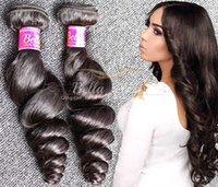 El pelo brasileño agrupa el pelo humano de la onda floja teje las extensiones baratas del pelo Traje doble 3pcs / lot 7A Color natural Bellahair