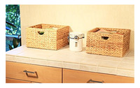 antique wicker baskets - Seville Classics Hand Woven Water Hyacinth Storage Baskets Pack