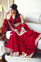 arabic shawl - Red Arabic Muslim Evening Prom Dresses Jewel Neck Luxury with Beading Indian Bridal Gowns with Shawl Full Length Party Wear