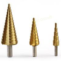 Wholesale 3 HSS Step Drills set mm mm mm Titanium Coated Core Metric Drill bits Power Tool Drills Set Spiral Steel FY10497