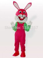adult bibs funny - New Arrival Funny Easter Bunny Rabbit in Pink Bib Overalls Adult Mascot Costume