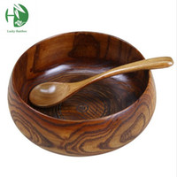Wholesale Large soup bowl jujube wood handmade healthy food containers traditional dinner dishes vintage bassie Japanese style