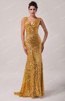 Oro Grace Karin Nuevo Shining Sequins Vestidos de noche Deep V-cuello hasta Lace Up Vestido largo Sexy Formal Vestido