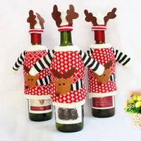 acrylic wine bottles - New designer cute reindeer knitted acrylic wine bottle top and hat sets bottle covers indoor christmas decoration