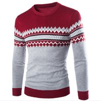 Wholesale High quality British men of autumn winters pullovers round collar color matching knitted sweater male