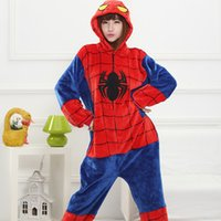 animal onsies - Latest popular cartoon Spider man Flannel Super hero Cosplay Costumes Pajamas Adult Unisex Onsies Pyjamas animal pajamas onesies Free shippi