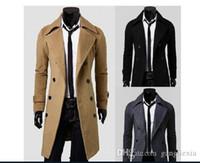 Wholesale New Brand Plus Size Men Trench Coat Winter Mens Long Pea Coat Men Wool Coat Turn down Collar Double Breasted Men Trench Coat
