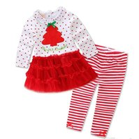 american express free - Christmas baby girls Outfits Long sleeve Sweet Dots Tutu dress shirt pant set Children Christmas tree dress striped Free express