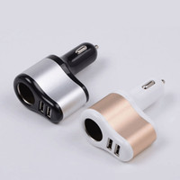 Wholesale Multi function Car Cigar Lighter USB Car Chargers Dual Port V A Auto Power Adapter For apple iphone samsung ipad air with retail box