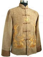 achat en gros de boutons de manteau d'or-Automne-High Style de Top Polyester Veste Bouton Manteau broderie Tang Costume Suit Taille S M L XL XXL XXXL Le M1146 de mode en or chinois Hommes