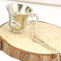 bella silver jewelry - Once Upon A Time Rumbelle Bella Clip Tea Cup Pendant Charm Necklace FASHION JEWELRY movie necklace