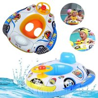 Wholesale Funny Kids Baby Inflatable Swimming Pool Ring Cartoon Baby Swim Seat with Wheel Horn Float Boat Swimming Pool Accessories