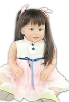 baby doll cradles - 28 inch New Face Cradle Baby Dolls For Toddler Silicone Reborn Babies Dress up Doll Toy Girls Gift Brown Hair Dolls