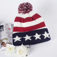baggy beanie crochet pattern - Warm Knit Hat Fashion Stripe Star Pattern Women Men Baggy Crochet Ski Sport Beanie Cap Soft Man Woman Ladies Skullies Beanies