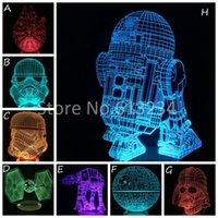 Wholesale Star Wars Color Changing Lamp R2D2 AT AT BB Death Star Stromtrooper Millennium Falcon D Light Awesome Mood Night Light