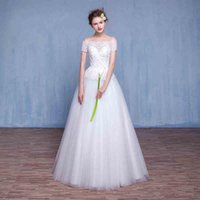 ball catches - Romantic Ball Gown Wedding Dresses Strapless Short Sleeve Lace Up Back vestido de noiva Eye Catching Bridal Gowns