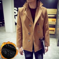 Wholesale Mens Wool Winter Jacket Long Woolen Men s Overcoat Leather Collar Warm Wool Outwear For Men XXL Black Coat Jaqueta