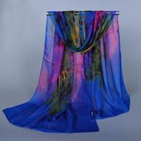 Wholesale New Fashion Soft Silky Women Colorful Chiffon Scarf Shawl Printed Girls Thin Scarves Stole