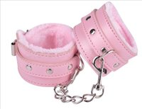 adult couple halloween costumes - Soft Black Pink Leather Handcuffs Restraints Costume Restraint Bondage PlayChain Adult Game Sex Toys for couples erotic products