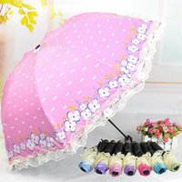 Wholesale Hot Sales Three folding Umbrella Rain Women Lace Anti UV Parasol Princess Sunny and Rainy Umbrella Black Coating JL0018