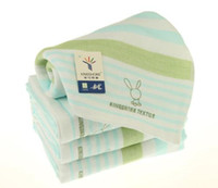 Wholesale Brand cotton green stripped hand towel health skincare fabric face towels