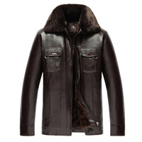 Wholesale Fall Tops Jacket Men PU Leather Coat Winter Jacket Latest Fur collar Coat Keep warm plus Size XL Brand clothing hfx