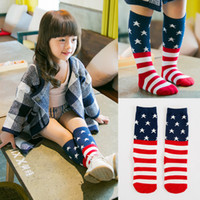Wholesale Children s Socks Kids Knee High Stripe USA Flag Cotton Baby Socks Middle Lengths Boys Girls Hosiery pairs