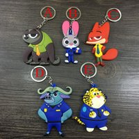 Wholesale 7CM Zootopia Judi Rabbit Nick Cartoon Fox Rabbit Silicone Keychain Bag Pendents Key Ring Rubber Cos Gift
