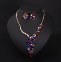 Wholesale Wedding Jewelry Sets Colored gemstone diamond necklace clavicle short Earring Sets evening gown with jewelry