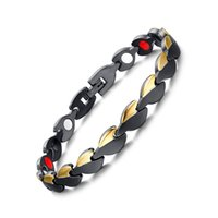 Wholesale 2016 New Fashion Stainless Steel Bracelet Black And Gold Bracelets Bangles With Neutral Health Care Magnet Jewelry Accessories JSF