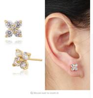 baby piercing earrings - 6 Colors Yellow Gold Plated Cute Clover Flower Zircon CZ Piercing Stud Earrings For Women Small Jewelry Children Girls Baby Kids