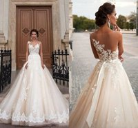 beaded western belts - 2016 Milla Nova Wedding Dresses Ball Gown Illusion Back Appliques Lace Beaded Belt Sheer Castle Chapel Train Bridal Gown For Western Style