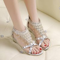 beaded shoe clips - 2015 summer women s bohemian beaded slope with flat sandals shoes with pearl clip toe Rome shoes delivery