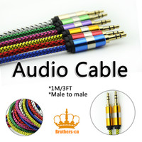 Wholesale Braided mm Male to Male Audio Stereo Car AUX Cable Cord for iPhone iPod iPad MP3 MP4