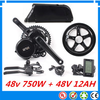 Wholesale 48V W BBS02 fun Bafang mid crank drive motor ebike kit with v ah down tube lithium ion battery